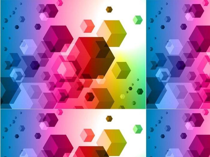Vinylová Tapeta 3D kostky na barevné abstraktní pozadí - Značky a symboly