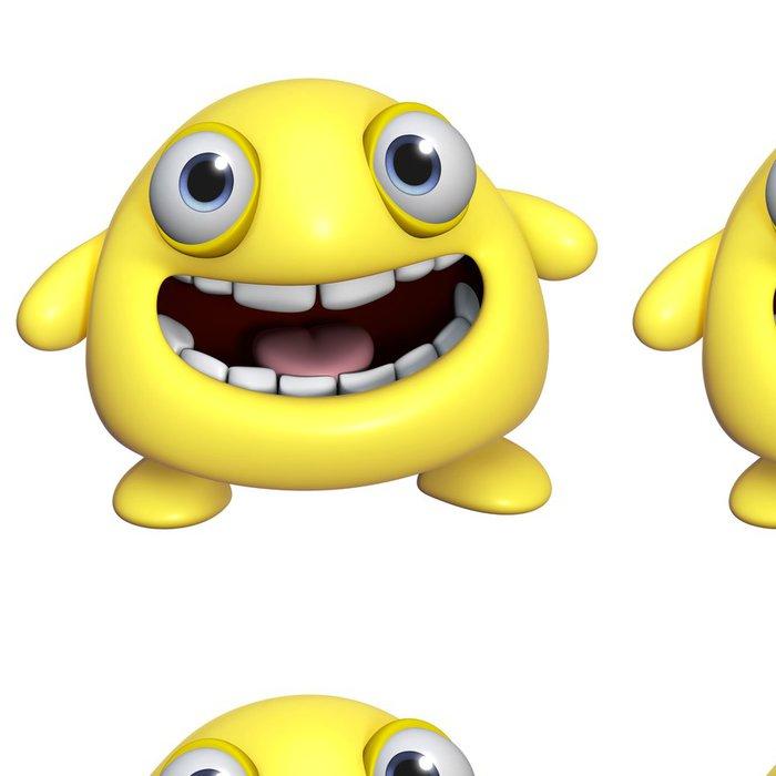 Tapeta Pixerstick 3D kreslená roztomilé žluté monstrum - Imaginární zvířata