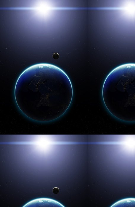 Vinylová Tapeta 3D Planeta Země s Měsícem. Prvky tohoto snímku poskytnutých N - Meziplanetární prostor