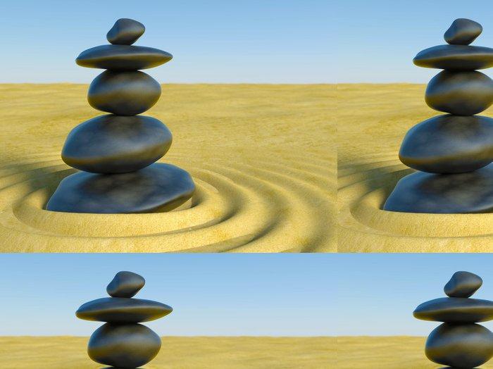 Tapeta Pixerstick 3d Zen kameny v zen písku - Náboženství
