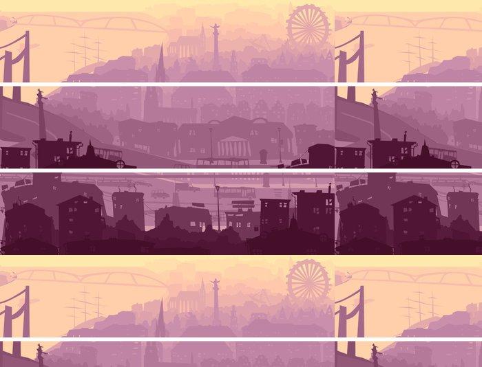 Vinylová Tapeta Abstrakt horizontální banner z velkého města v západu slunce. - Město