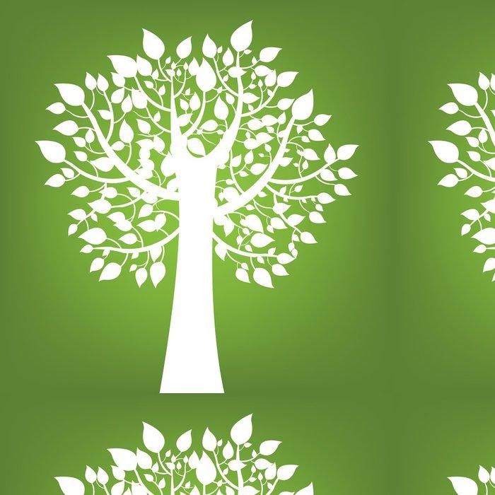Tapeta Pixerstick Abstrakt strom na zeleném pozadí - Přírodní krásy
