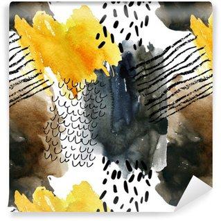 Vinylová Tapeta Abstraktní akvarel bezešvé vzor v podzimních barvách.