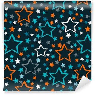 Vinylová Tapeta Abstraktní bezproblémové hvězdy vzor. grunge městské hvězdy pozadí v černé a bílé barvy pro dívky, chlapci, dětské, módní a sportovní oblečení. silueta hvězdy opakované pozadí.