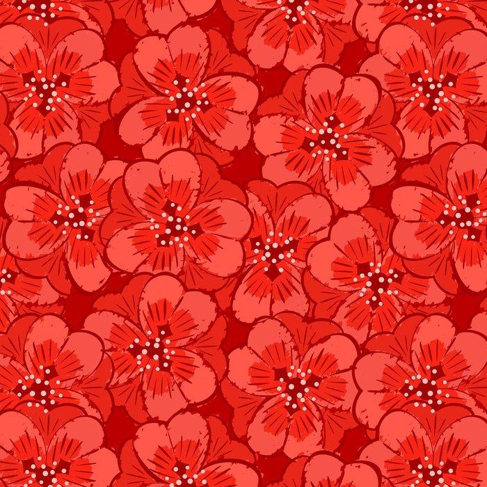 Tapeta Pixerstick Abstraktní červené květy bezproblémové vzorek - Květiny