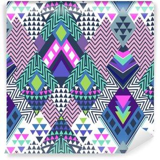 Vinylová Tapeta Abstraktní geo tvary v cikcak designu - bezešvé pozadí