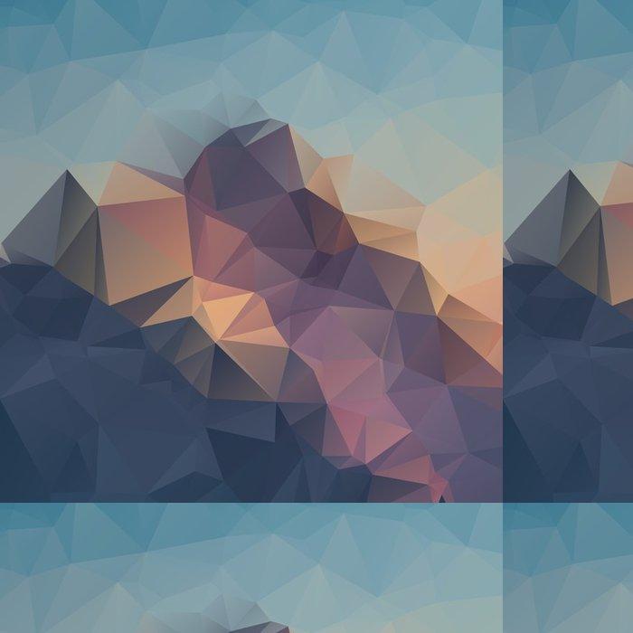 Tapeta Pixerstick Abstraktní geometrické barevné pozadí. Vrcholky hor. Složení s trojúhelníky geometrickými tvary. polygon terén. - Krajiny