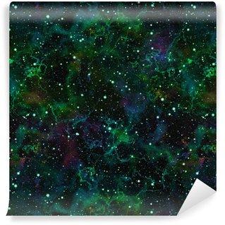 Vinylová Tapeta Abstraktní jasně zelený vesmír, mlhovina noční hvězdné nebe, lesklé vesmíru, galaktické textury pozadí, bezešvé ilustrace