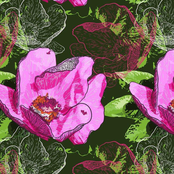 Tapeta Pixerstick Abstraktní květiny bezešvé vzor na pozadí - Květiny