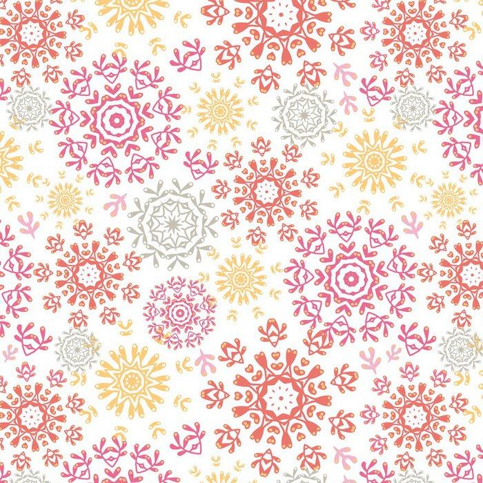 Tapeta Pixerstick Abstraktní pozadí bezešvé vzor vektoru folk floral kruhy - Ekologie