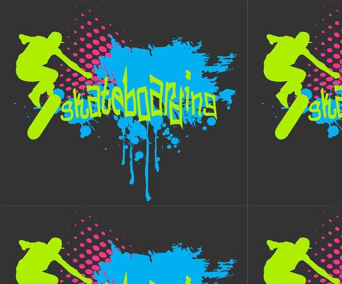 Tapeta Pixerstick Abstraktní vektorové pozadí s skateboardista silhouette - Skateboard
