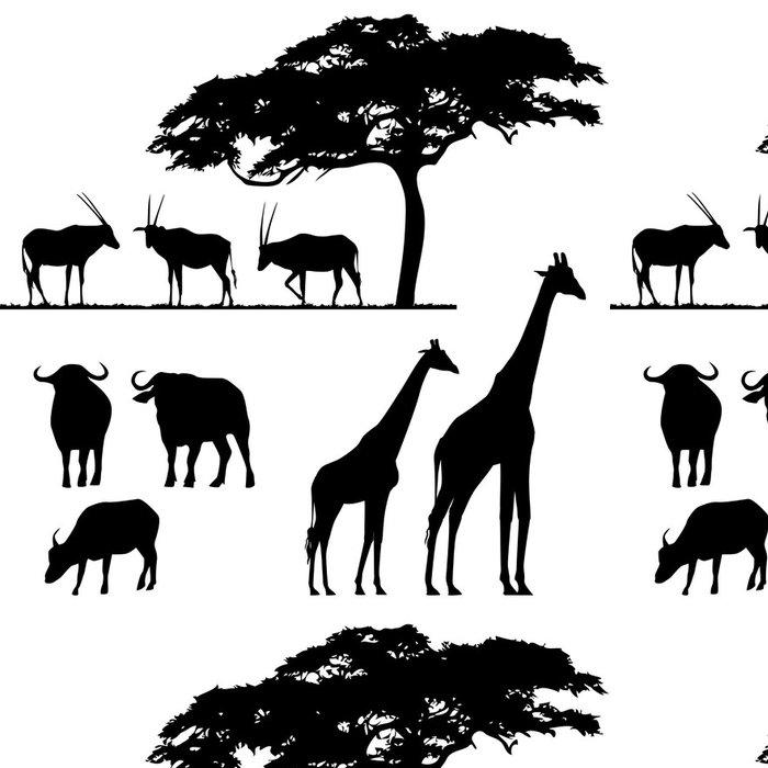 Tapeta Pixerstick Africká zvířata, vektorové siluety - Přírodní krásy