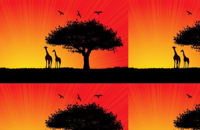 Tapeta Pixerstick Africké slunce ilustrace s dvěma žirafy - Témata