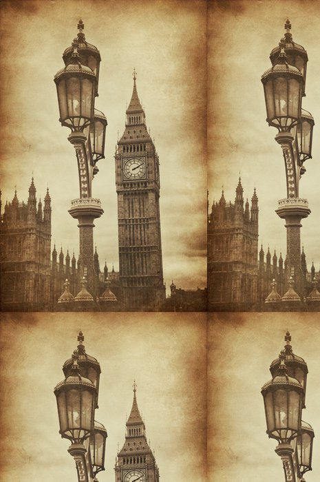 Tapeta Pixerstick Aged Vintage Retro Obrázek Big Ben v Londýně - Témata