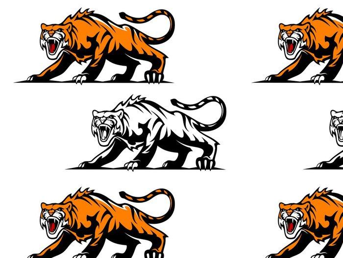 Tapeta Pixerstick Agresivní tygr - Savci