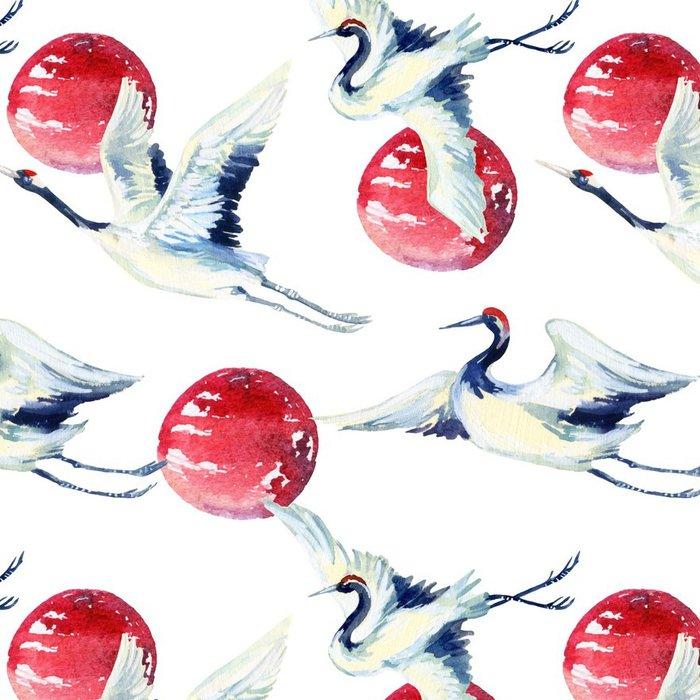 Vinylová Tapeta Akvarel asijských jeřáb pták bezešvé vzor - Zvířata