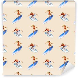 Vinylová Tapeta Akvarel bezešvé vzor se surfaři na růžovém pozadí, světlé ručně kreslené letní pozadí.