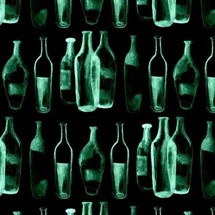 Tapeta Pixerstick Akvarel bezproblémové pozadí. Zelené víno lahví a sklenic. - Pití