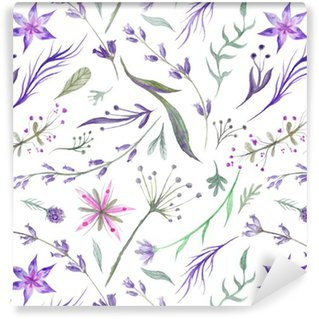 Vinylová Tapeta Akvarel Bylinný Pattern s Lavender v purpurové barvy
