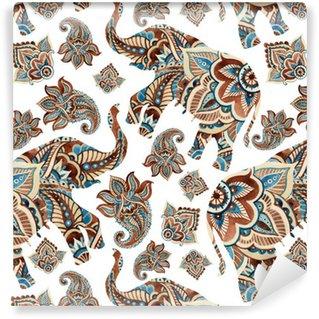 Vinylová Tapeta Akvarel etnické slon s Paisley prvky pozadí.