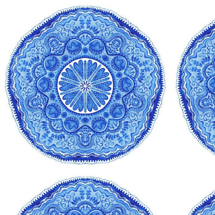 Tapeta Pixerstick Akvarel gzhel. Ubrousek kolo krajky vzor, kruh pozadí wi - Nálepka na stěny