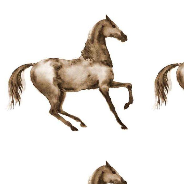 Tapeta Pixerstick Akvarel hnědý kůň v pohybu. Krásná ruční kreslení ilustrace na bílém. Ruční malba sépie hřebce. - Zvířata