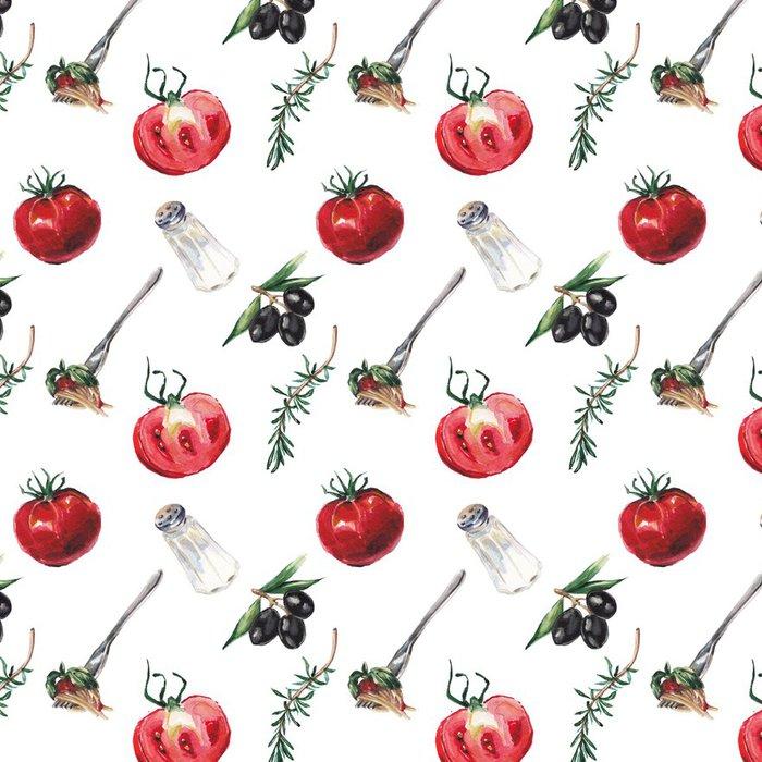 Vinylová Tapeta Akvarel italské jídlo vzor - Jídla