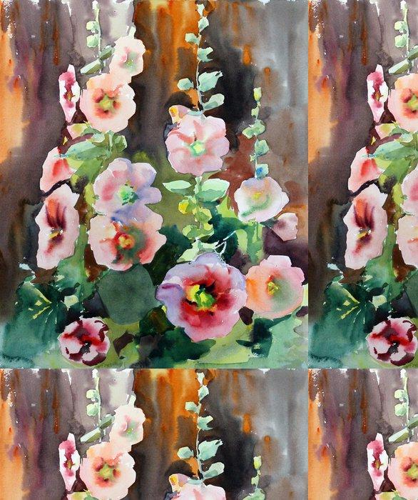 Tapeta Pixerstick Akvarel krásné květy slézu. - Umění a tvorba