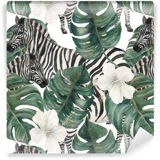Vinylová Tapeta Akvarel malování bezešvé vzor s listy tropických deliciosa, ibišek květiny a zebra