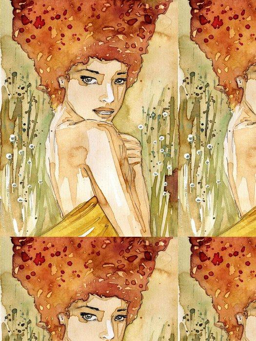 Tapeta Pixerstick Akvarel portrét ženy. -