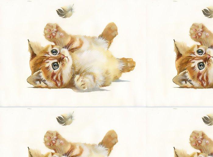 Tapeta Pixerstick Akvarel Sbírka Zvíře: Kočka a peří - Umění a tvorba