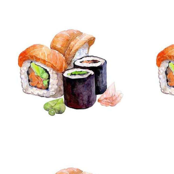 Vinylová Tapeta Akvarel Sushi na bílém pozadí .__ - Jídlo