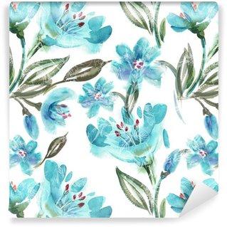 Tapeta Pixerstick Akvarel Turquoise květiny bezešvé vzor