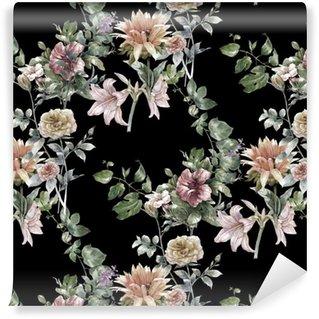 Vinylová Tapeta Akvarel z listů a květů, bezešvé vzor na tmavém pozadí,