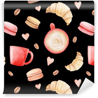 Vinylová Tapeta Akvarelové hrnky na kávu, makarony a srdce. ilustrace pro design, tisk nebo pozadí