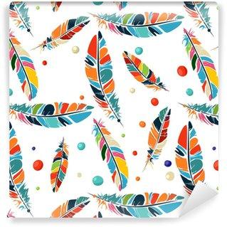Vinylová Tapeta Akvarelové korálky a peří vzor