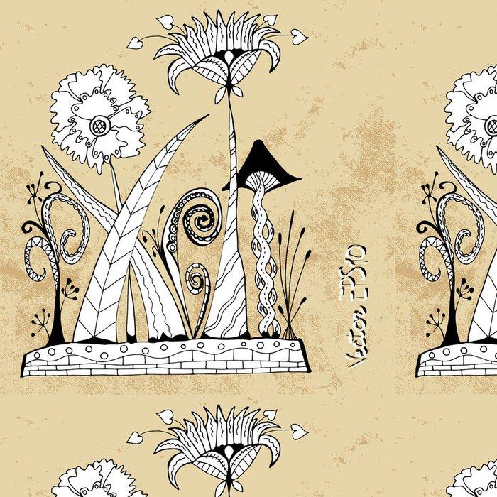 Tapeta Pixerstick Alien futuristické abstraktní květiny v zentangle stylu, vektoru - Květiny