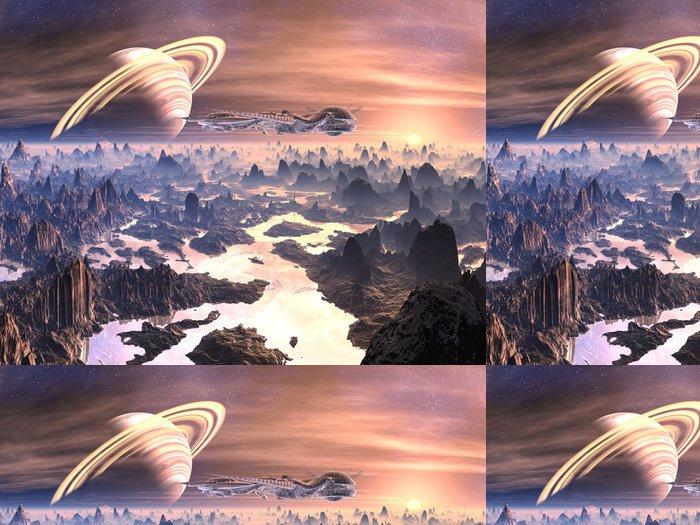 Tapeta Pixerstick Alien Spaceship nad nepřátelském terénu - Meziplanetární prostor