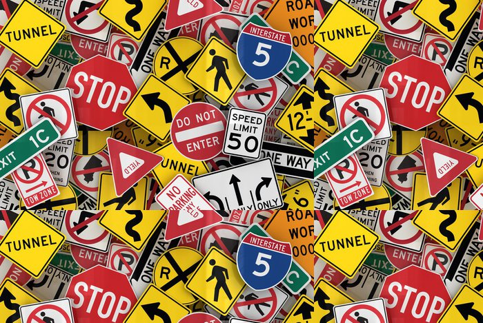Tapeta Pixerstick Americká dopravní značky - Život
