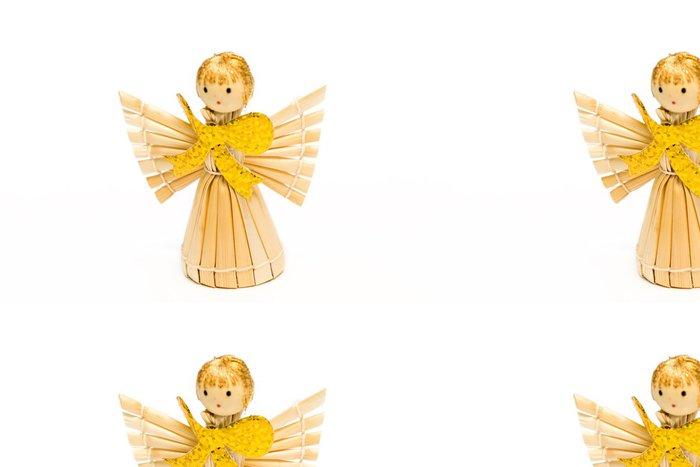 Tapeta Pixerstick Anděl ze slámy, s velkým zlatým lukem - Domov a zahrada