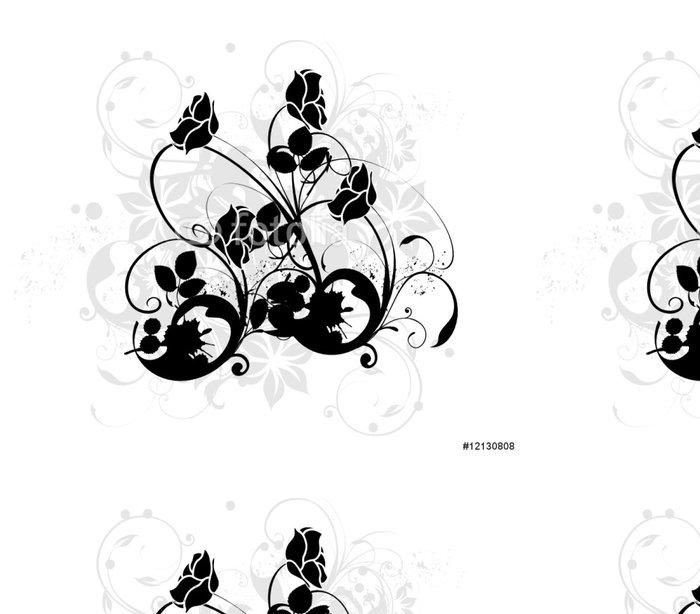 Tapeta Pixerstick Arabesque de Noirs růže - Nálepka na stěny