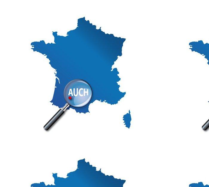 Vinylová Tapeta Auch: Lokalizace sur carte de France - Departement Gers - Evropa