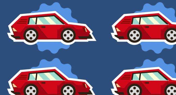 Tapeta Pixerstick Autíčka ojedinělých bílým obrys na modrém pozadí. Vozidla cestovat. Nálepka pro děti na téma stroje. Vektorové ilustrace. ploché styl - Doprava