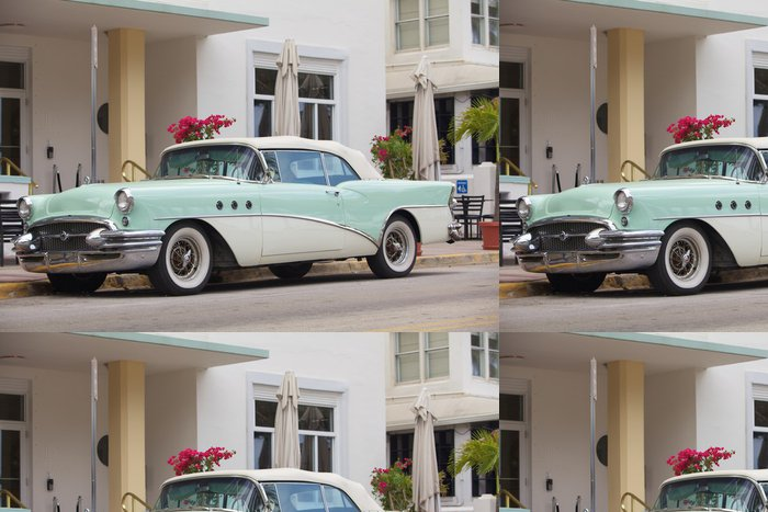 Tapeta Pixerstick Auto d'epoca parcheggiata su Ocean Drive - Amerika