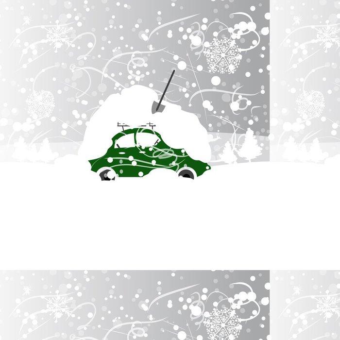 Tapeta Pixerstick Auto s závěje na střeše, v zimě vánice - Značky a symboly