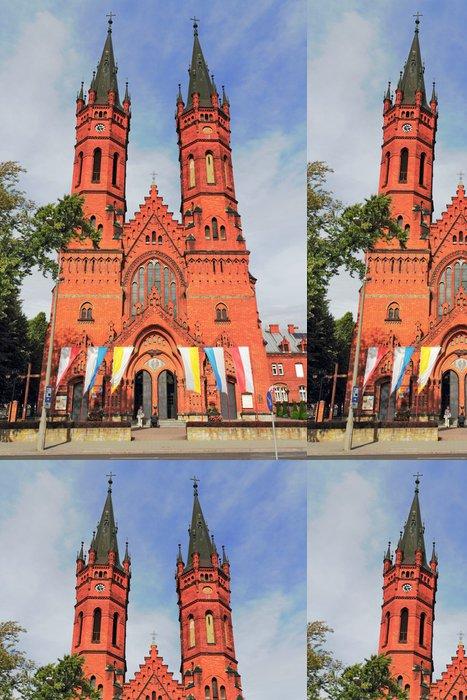 Tapeta Pixerstick Backsteinkirche mit Doppelturm - Veřejné budovy