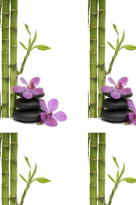 Tapeta Pixerstick Bamboo Grove a větve orchidej na oblázky -