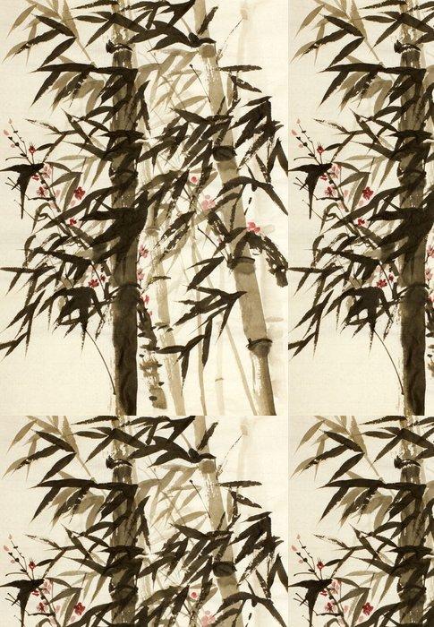 Tapeta Pixerstick Bambusové stromy a švestky větev - Rostliny a květiny