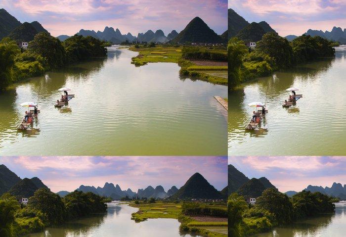 Tapeta Pixerstick Bambusové vory drift sjíždění řeky Yulong v Yangshuo, Čína - Asie