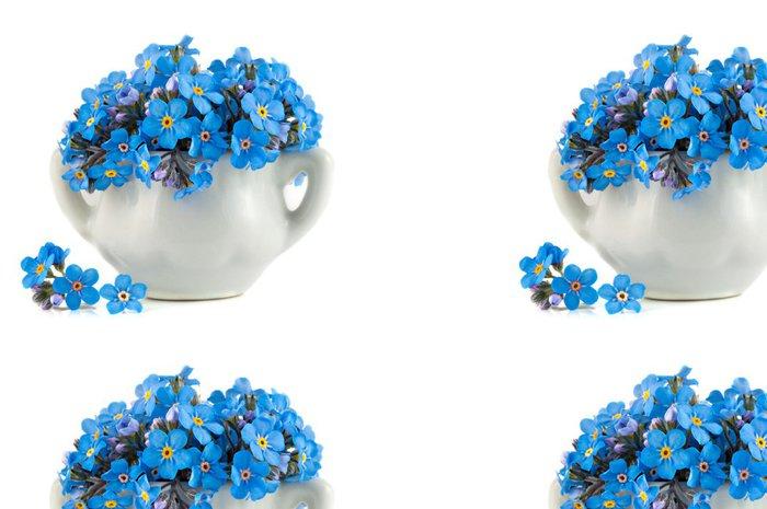 Tapeta Pixerstick Banda živé modré forget-me-not květiny v porcelánu hrnci - Květiny